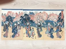 Genuine Oban triptych representing the bow of Ueno Utagawa Hiroshige (1797-1858) - Japan - circa 1849-1852