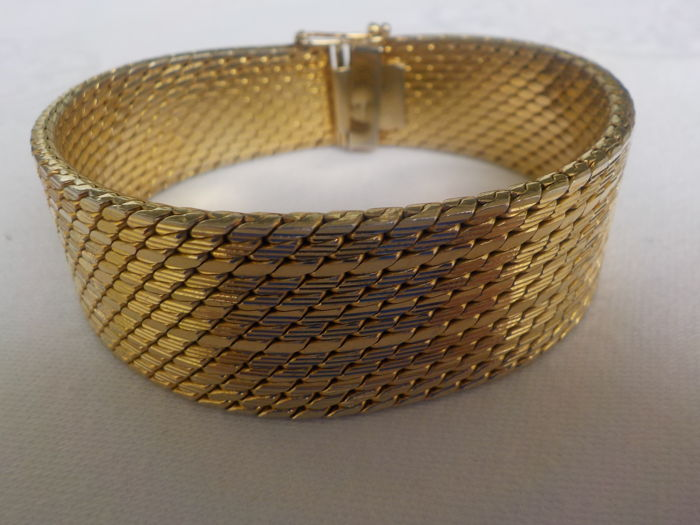 Gold Milanese bracelet, yellow gold, hallmarked – gold-plated