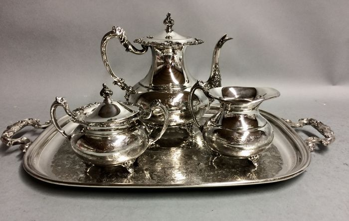 Silver plated tea set on a serving tray Community Plate U.S.A ca. & Silver plated tea set on a serving tray Community Plate U.S.A ca ...