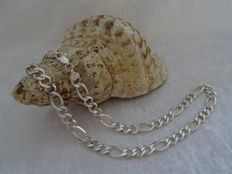 Wide 925 silver figaro necklace of 51 cm.