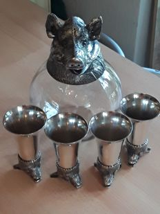 Carafe and four cups with boar head / Silver plated Jabali
