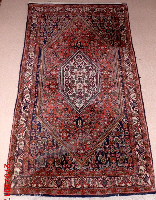 "Original hand-woven oriental carpet ""Bidjar"", produced and imported circa. 1960, size: 163 cm x 90 cm, excellent"