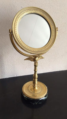 An Empire style gild-plated bronze mirror on stand with an eagle - circa 1880