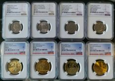 China - lot of 8 coins - 1993/2011 - 90th and 100th anniversary