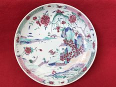 Famille rose large dish decorated with a landscape - China - 18th century
