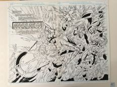 Original Art Double Splash Page By Geoff Senior - Marvel Comics - Battletide III #3 - Pages 2 and 3 - (1993)