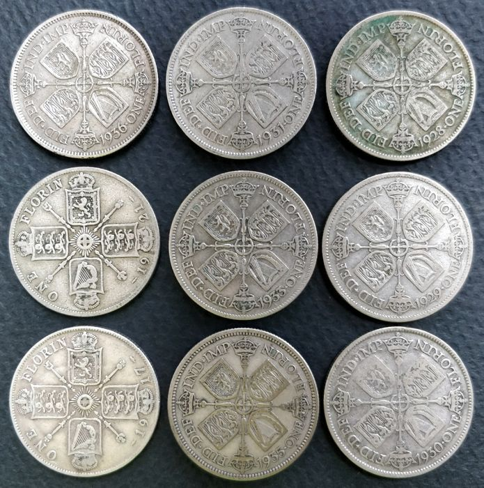 United Kingdom - Lot of 9 x Florins - 1917/1936 - George V - silver