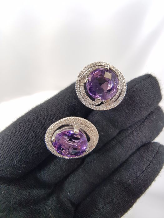 Alfieri & St John 18ct White Gold Diamond & Amethyst Earrings - Length 2cm