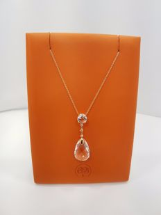 Alfieri & St John - 18ct Yellow Gold Diamond & Rock Crystal Pendant with Necklace - Length 48cm