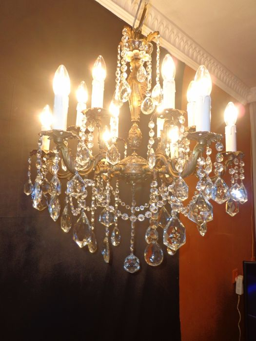 Large French crystal chandelier - bronze/copper - 12 lights - Second half of the 20th century