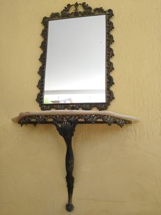 Antique large mirror with table bronze with onyx shelf, Italy, late 19th century