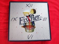 Promotional clock for FISCHER beer + 2 promotional mirrors