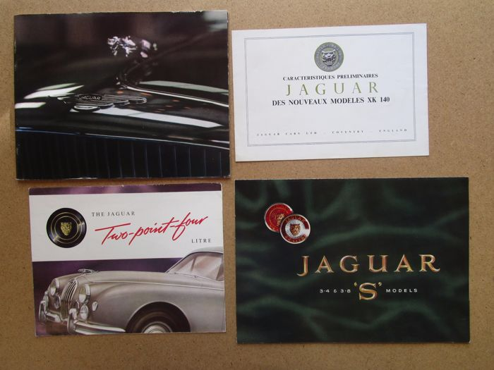 Jaguar - lot of 4 brochures XK140, 2.4 L, 3.4 and 3.8 S, MarkX, 3.8 L, XKE roadster and coupe - around 1960