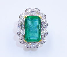 GIA Certified TCW 8.62ct Natural Emerald Diamond Ring- Ring Size: US6.5
