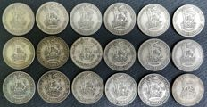United Kingdom - Lot of 18 x Shilling - 1921/1946 - George V and VI - silver