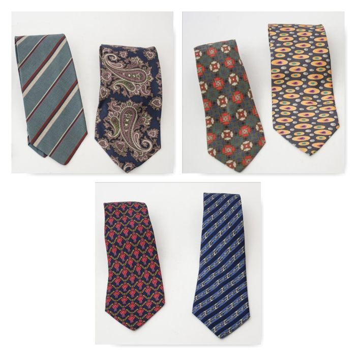 Lot of 6 ties – Hermes, Armani, Versace, Missoni, Boss