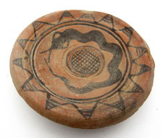 Indus Valley Painted Terracotta Plate decorated with Snake Motif - 118x13 mm