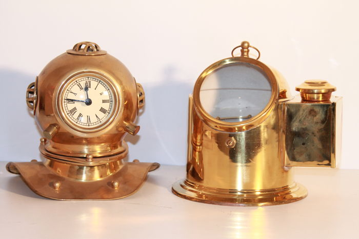 Two copper decorative marine items - -Diving helmet and compass