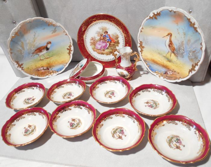 Limoges porcelain - Fragonard - A C - cups - vase - plates - sweet box