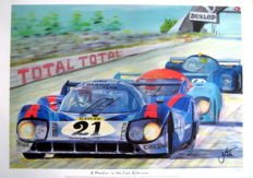 """A Martini in the late afternoon"" - Porsche 917LH #21 Le Mans 1971 - Vic Elfort/Gerrard Larousse - Orginal Painting"