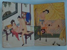 Oriental Erotica; Pillow Book with 10 Chinese erotic scenes-2nd half of 20th century