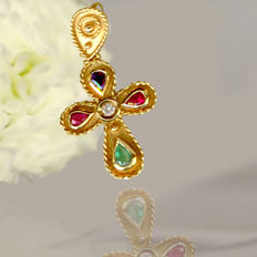 18 kt yellow gold cross pendant with diamond, sapphire, emerald and ruby
