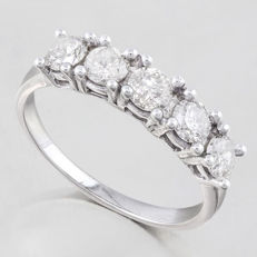 14KT Solid  Gold Ring with created moissanites - US size 7.5