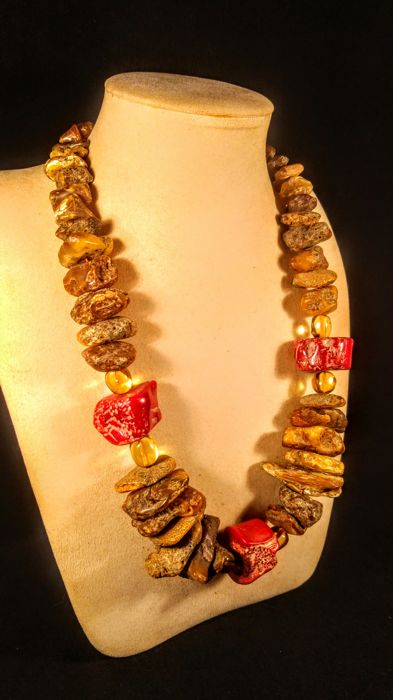 100% Baltic Amber necklace with few bamboo Coral beads accent , length 62 cm