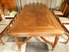 Oak table with 6 chairs, France, 20th century
