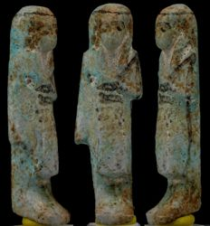 Very rare nice fayence Overseer Ushabti for Ankh-ef-Amun . - ca. 6 cm c. 2,36 inches