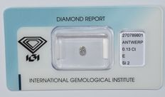 0.13 ct brilliant cut diamond, E, SI2