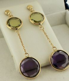 14k yellow gold earrings inlaid with amethyst and peridot - Size: 10 x 41 mm