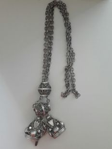 Silver chatelaine with key and signets, The Netherlands