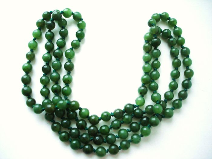 Long vintage necklace of genuine Jade-Nephrite beads in dark spinach or forest green colour, (1950's Canada