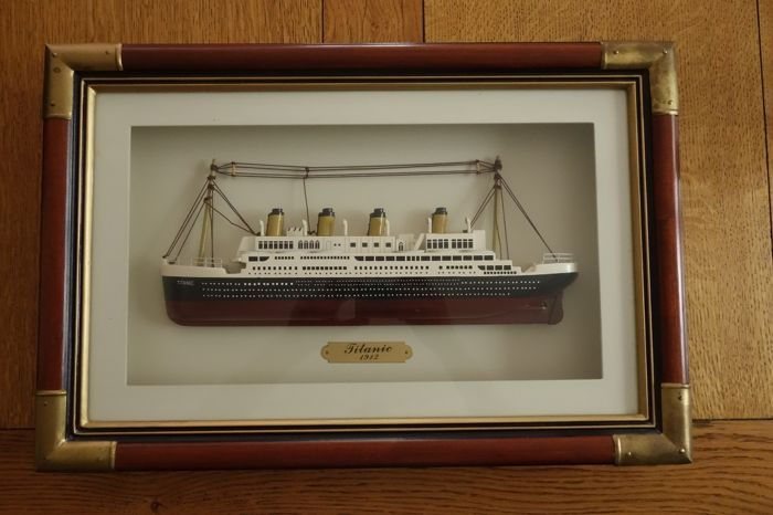 "Wooden model boat of the ""Titanic"""