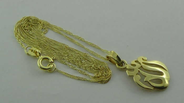 14 kt gold Singapore necklace with pendant – length: 45 cm