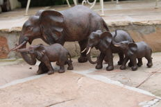 Handmade large beautiful sculptures of a herd of elephants - 4 pieces