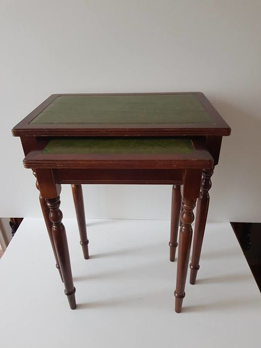English set of side tables with leather leaf (table top)