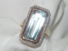 XXL ring natural aquamarine with 0.28 ct diamonds cocktail ring 18 kt – 750