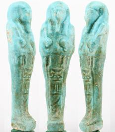 Ancient Egyptian faience ushabti from Negerin born to Heturu, ca. - 12 cm - c. 4,72 inches