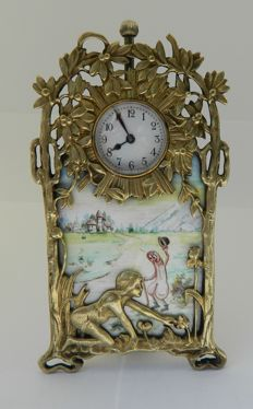 "Table Clock; ""Wandering penis"" welcomes a flower picking nude girl - ca 1925"