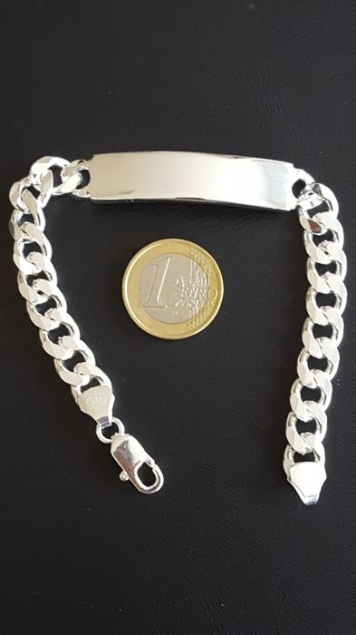 925 Massive silver  Men's Bracelet With Name Plate - 22cm