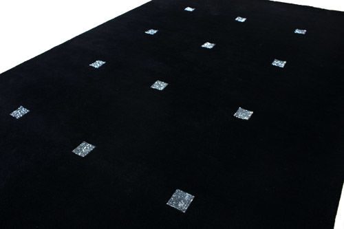 Gorgeous Nepalese rug, black with Swarovski crystals