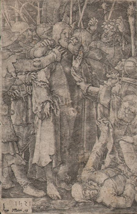 Lucas van Leyden (1494 - 1533) - Betrayal of Christ - Original Van Leyden engraving - 1521