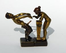 Sculpture; Viennese erotic figures; A satyr and a nymph - 20th century