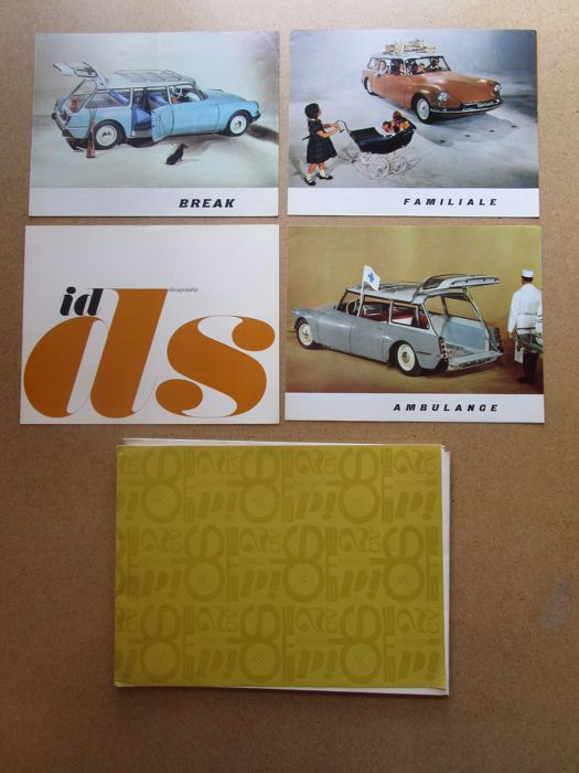 Citroen - Set of 4 original catalogues for models DS & ID station wagon, ambulance, family, convertible - 1960 / 1961 / 1962
