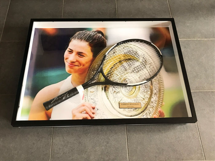 Garbine Muguraza framed autographed tennis racket + photo of the signing + certificate of authenticity
