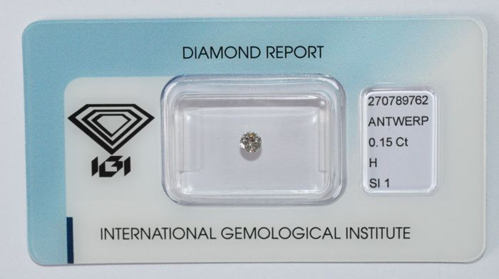 0.15 ct brilliant cut diamond, H, SI1
