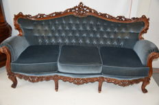 Walnut Baroque style three seater sofa, Netherlands, 1st half 20th century.