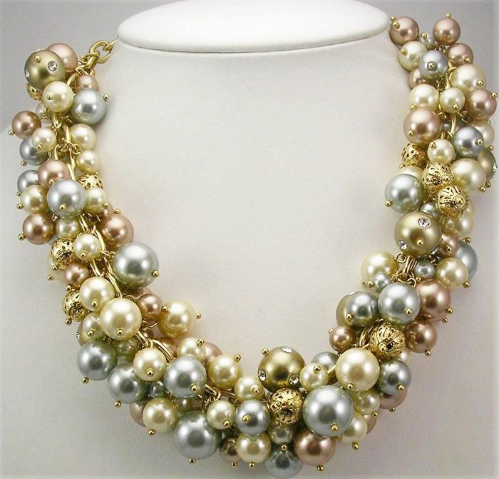 ISAAC MIZRAHI - Faux pearl cluster necklace